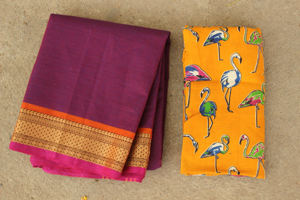 Purple Cotton Saree with contrast Woven Border. TCB-KC42-KN1
