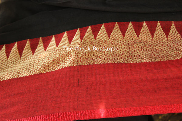 | KOHL | - Black with red temple border Cotton Saree. TCB-TEM1-CY2-The Chalk Boutique