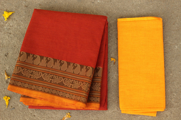 Rust and Red Cotton Saree with contrast Woven Border. TCB-KC44-KN1