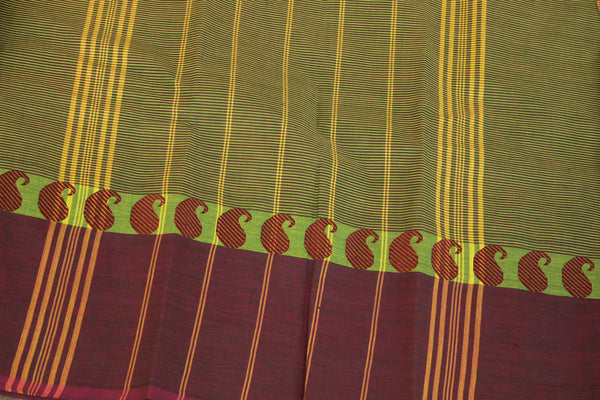 Purple and Green Cotton Saree with contrast Woven Border. TCB-KC45-KN1