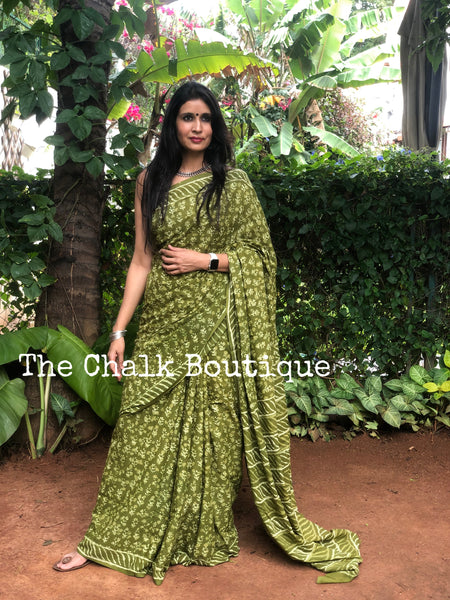 | Maahi | Green Traditional Dabu Handblock printed Cotton saree.