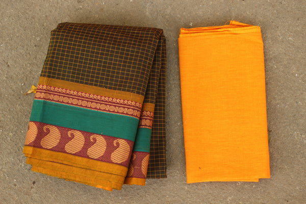 Brown Checked Cotton Saree with contrast Woven Border. TCB-KC46-KN1