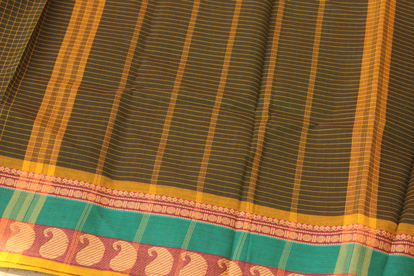 Mossy Green Checked Cotton Saree with contrast Woven Border. TCB-KC46-KN1