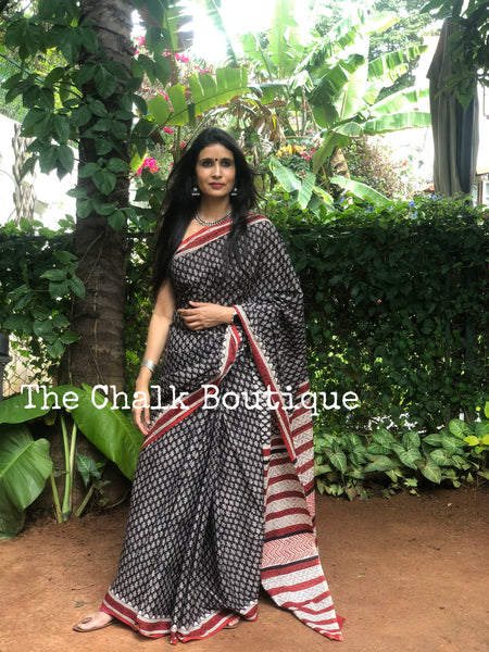 | Gypsy Soul | Black Traditional Dabu Handblock printed Cotton saree.