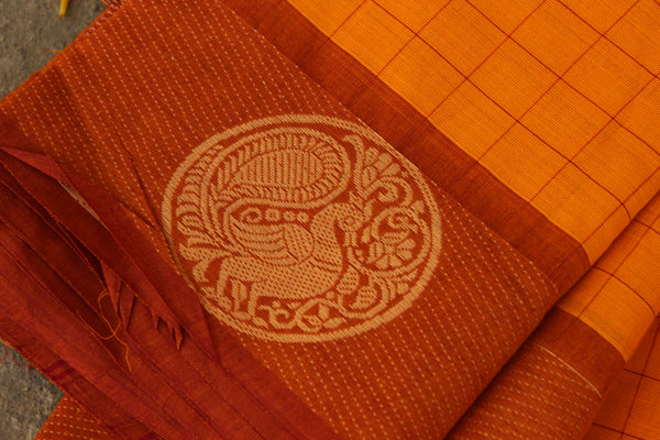 Yellow Checked Cotton Saree with contrast Woven Border. TCB-KC49-KN1
