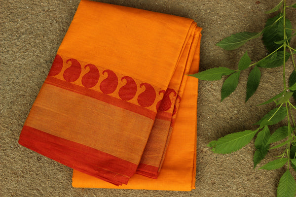 Sunset yellow 80 count fine cotton sari with tissue border and mango weave. RK-TIS3-C25