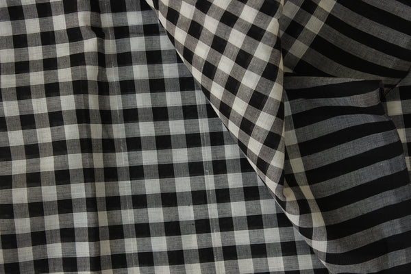 Black and White Checked Cotton Saree with contrast Woven Border. TCB-KC50-KN1