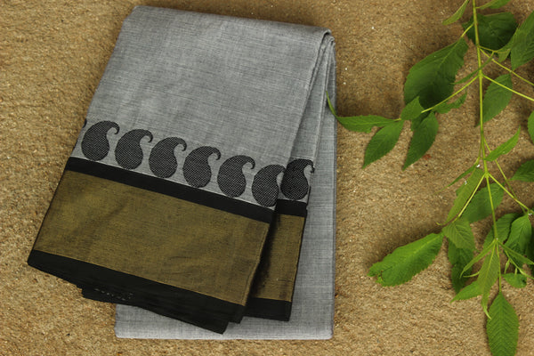 Steel grey 80 count fine cotton sari with tissue border and mango weave. RK-TIS5-C25
