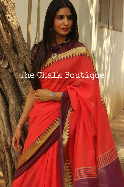 | Coral Hues | Coral with purple temple border Handloom cotton saree. TCB-TB5-BS-The Chalk Boutique