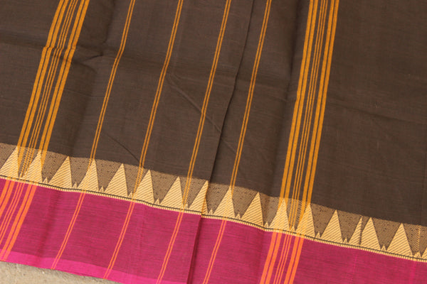 Brown Cotton Saree with contrast Woven Border. TCB-KC52-KN1