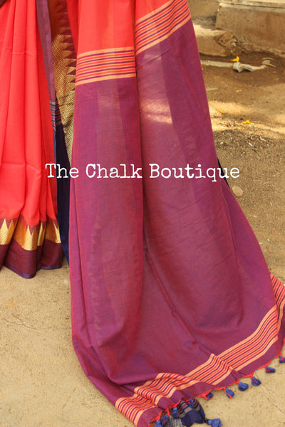 | Coral Hues | Coral with purple temple border Handloom cotton saree. TCB-TB5-BS