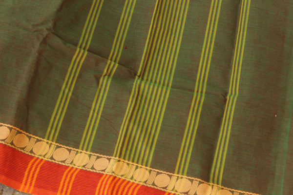 Dhoop Chaav Olive Green Cotton Saree with contrast Woven Border. TCB-KC53-KN1