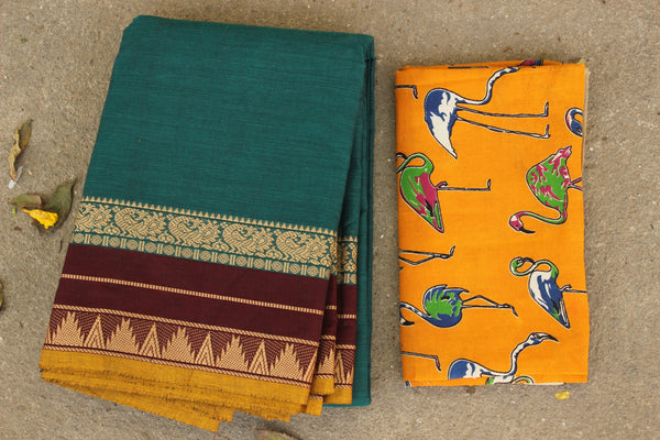 Blue Cotton Saree with contrast Woven Border. TCB-KC54-KN1