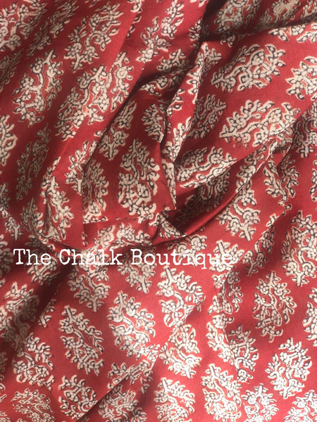 | My Love | Red Traditional Dabu Handblock printed Cotton saree.
