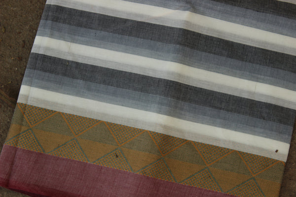 White and Grey Striped Cotton Saree with contrast Woven Border. TCB-KC55-KN1