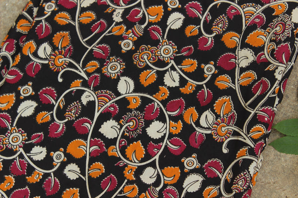 Black floral hand block print kalamkari cotton SILK  fabric.TCB-SLK1-P13
