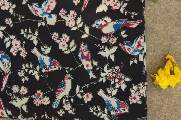 Black birdie hand block print kalamkari cotton silk fabric.TCB-FSLK4-P13