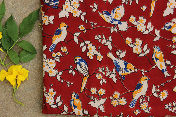 Red birdie hand block print kalamkari cotton silk fabric.TCB-FSLK8-P13