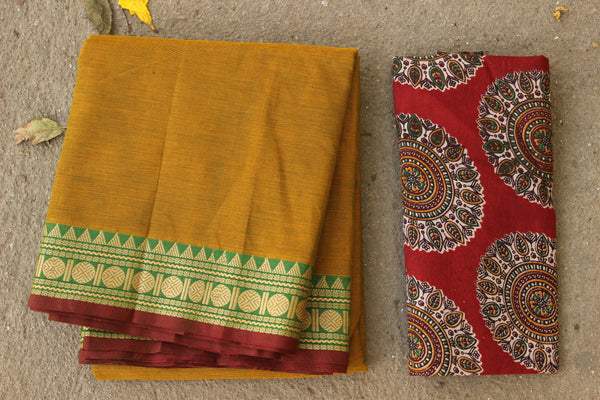 Deep Mustard Cotton Saree with contrast Woven Border. TCB-KC56-KN1