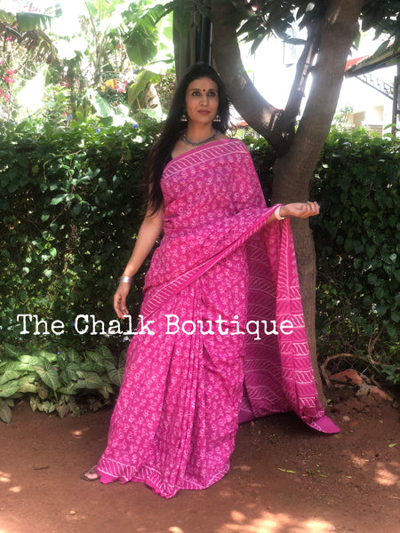 | Naina | Pink Traditional Dabu Handblock printed Cotton saree.