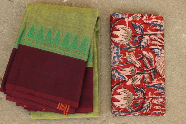 Green Cotton Saree with contrast Woven Border. TCB-KC57-KN1