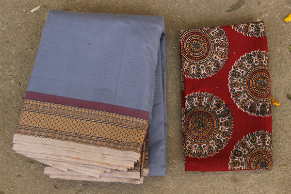Steel Blue Cotton Saree with contrast Woven Border. TCB-KC58-KN1