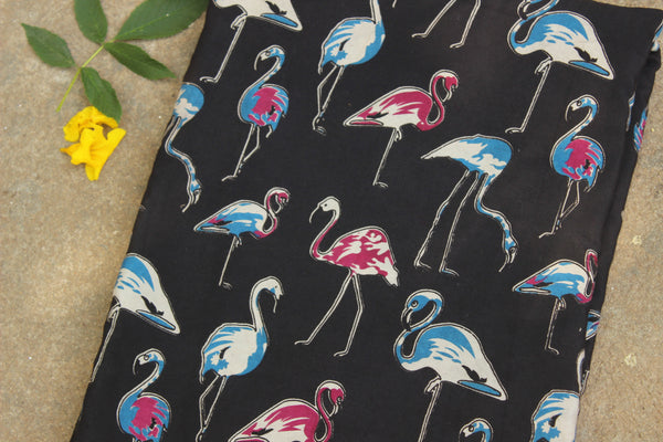 Black flamingos hand block print kalamkari cotton silk fabric.TCB-FSLK9-P13