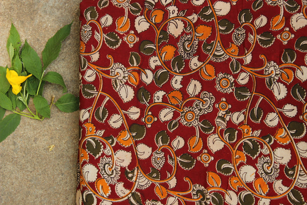 Red Floral hand block print kalamkari cotton silk fabric.TCB-FSLK10-P13