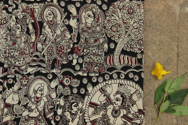 Black and White hand block print kalamkari cotton silk fabric.TCB-FSLK11-P13