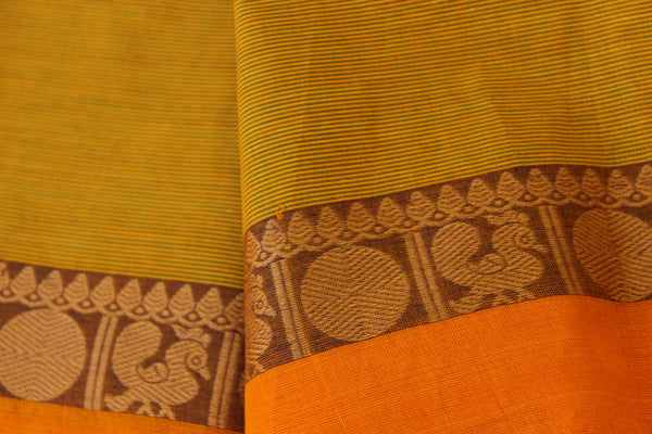 Yellow Self Striped Cotton Saree with contrast Woven Border. TCB-KC59-KN1