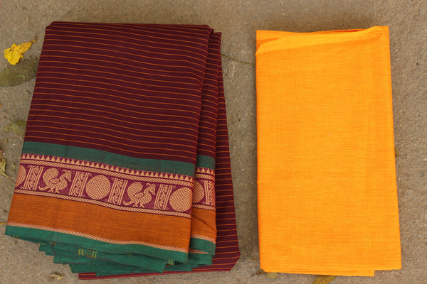Maroon Striped Cotton Saree with contrast Woven Border. TCB-KC60-KN1