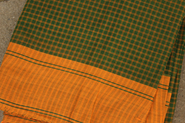 Green Checked Cotton Saree with contrast Woven Border. TCB-KC61-KN1