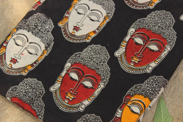 Big black buddhas hand block print kalamkari cotton fabric.TCB-FCOT8-P13