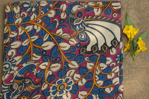 Pink and blue peacock hand block print kalamkari cotton fabric.TCB-DCOT12-P13