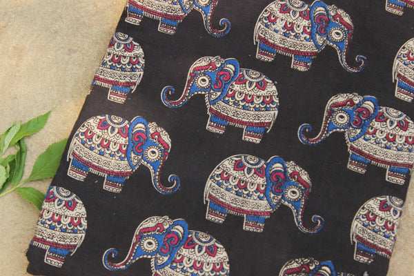 Black elephant hand block print kalamkari cotton fabric.TCB-DCOT13-P13