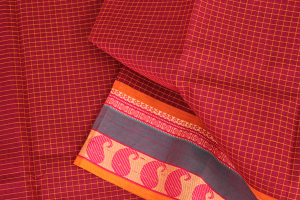 Red Checked Cotton Saree with contrast Woven Border. TCB-KC62-KN1