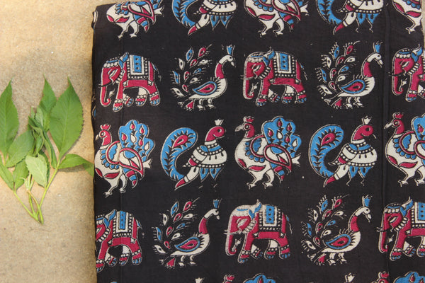 Black elephants and peacocks hand block print kalamkari cotton fabric.TCB-DCOT15-P13