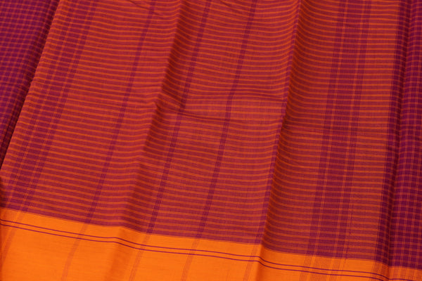 Pink Checked Cotton Saree with contrast Woven Border. TCB-KC63-KN1