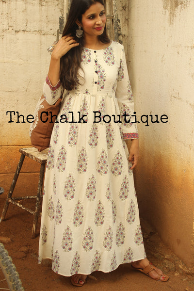 Block Print Blue Floral Kashish Dress GC-D-118B-The Chalk Boutique