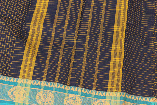Deep Blue Checked Cotton Saree with contrast Woven Border. TCB-KC64-KN1