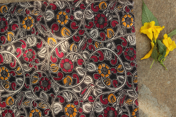 Black and red floral hand block print kalamkari cotton fabric.TCB-DCOT16-P13