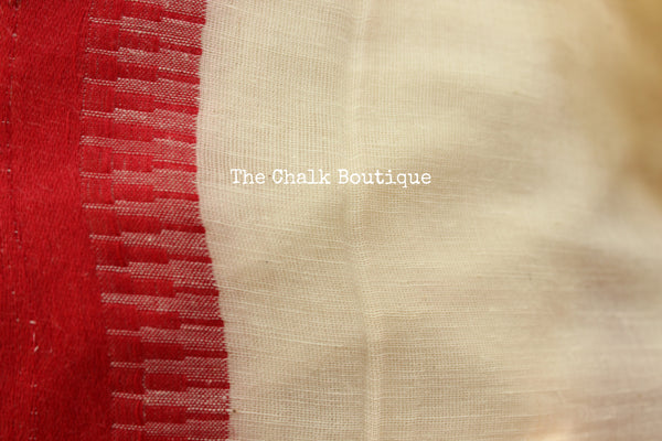| Rajnigandha | Summery white with 'laal paar' handloom Cotton Saree. TCB-CT4-BS