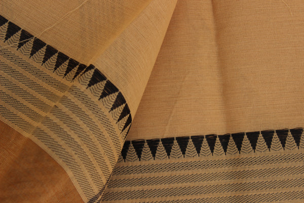 Light Coffee Color Cotton Saree with contrast Woven Border. TCB-KC65-KN1