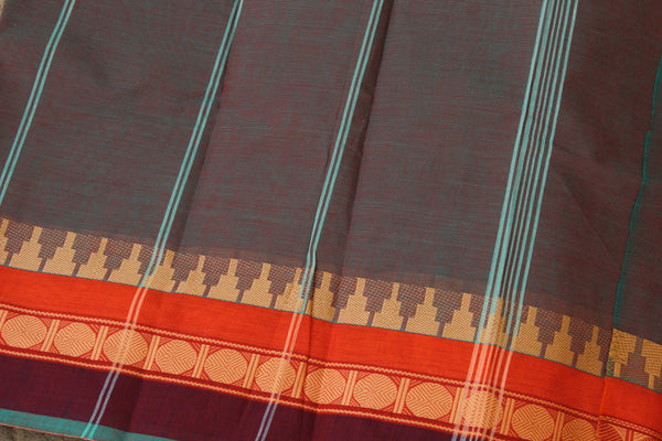 Purple Dhoop Chaav Cotton Saree with contrast Woven Border. TCB-KC66-KN1