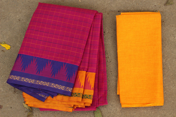 Pink Checked Cotton Saree with contrast Woven Border. TCB-KC67-KN1