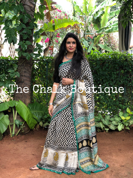 | Mrinali | Beige and Green Hand Block printed Chanderi Saree.