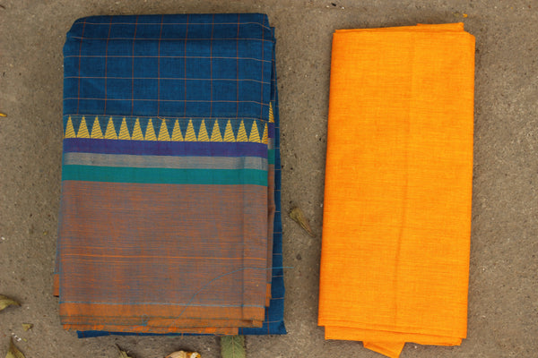 Blue Checked Cotton Saree with contrast Woven Border. TCB-KC68-KN1