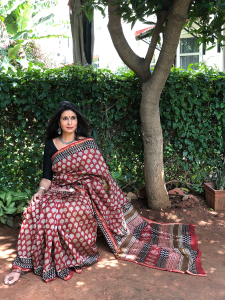 | Me and You  | Red Hand Block printed Chanderi Saree