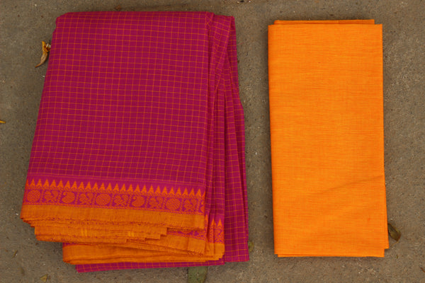Pink Checked Cotton Saree with contrast Woven Border. TCB-KC69-KN1