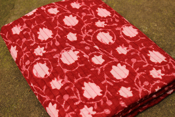 Cotton hand block printed pintucks fabric. TCB-BP-PT5